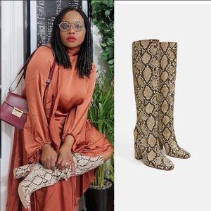 NWT Zara heeled snakeskin print boots sz 6.5